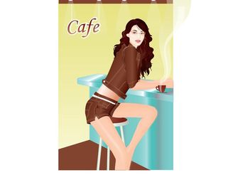 Girl In Cafebar - vector #139227 gratis
