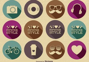 Hipster Icon Set - Free vector #139997