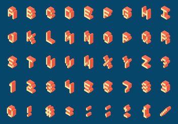 Free Isometric Retro Pixel Alphabet Vector - Kostenloses vector #140047