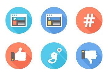 Free Flat Social Media Vector Icons - vector gratuit #140067