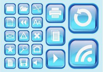 Blue Interface Symbols - vector gratuit #140257