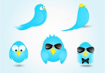 Twitter Bird Cartoon Vectors - Free vector #140477