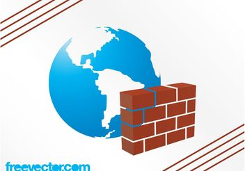 Planet And Firewall Vector - Free vector #140697