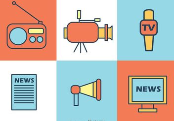 News Reporter Icons Vector - бесплатный vector #140857