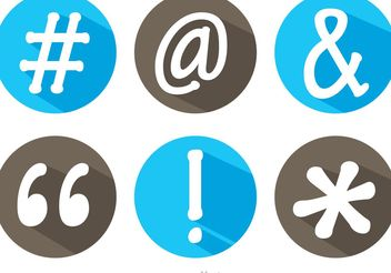 Hashtag Sosial Media Symbol Long Shadow Icons Vector - Free vector #140997