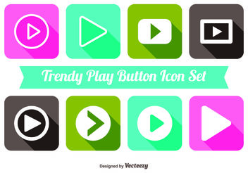 Trendy Play Button Icon Set - vector gratuit(e) #141147