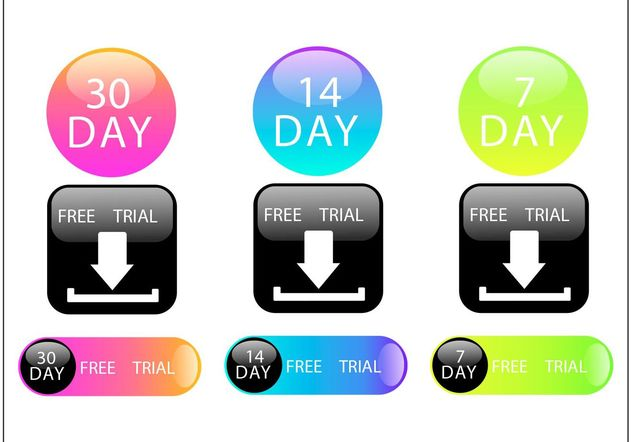 Colorful 30 Days Free Trial Button Vector Set - Free vector #141217
