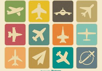 Vintage Airplane Icon Set - vector gratuit(e) #141227