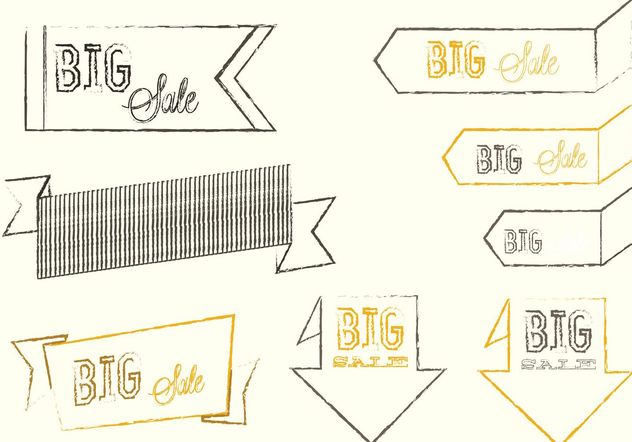 Sketchy Big Sale Banner Vectors - vector gratuit #141577