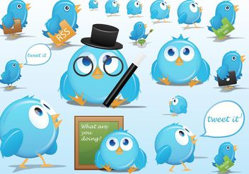 Twitter Cartoons - vector gratuit #141747