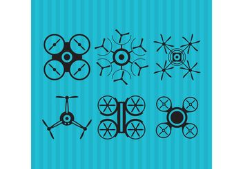 Black Drone Vector Icons - Kostenloses vector #141847