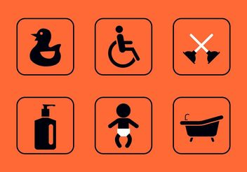 Teal Rest Room Vector Icons - Free vector #142557