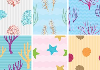 Coral Reef with Fish Vector Patterns - Free vector #144277