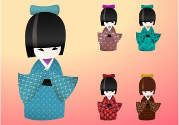 Japanese Dolls - vector gratuit #144337