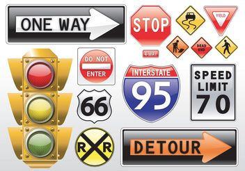 Road Signs Vectors - Free vector #144717