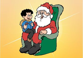 Santa And Kid - Free vector #145037