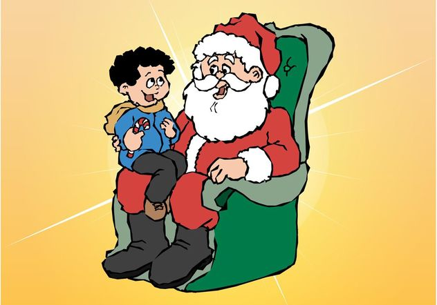 Santa And Kid - Free vector #145037