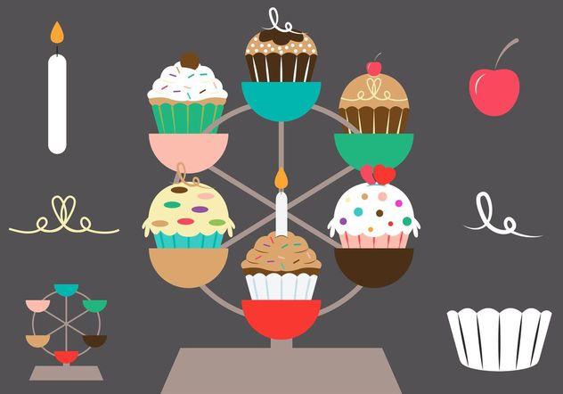 Cupcake Stand Vector Set - Free vector #145057