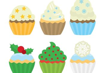Christmas Dessert Cupcakes - Free vector #145077