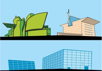 Retro Building Cartoons - vector gratuit #145197