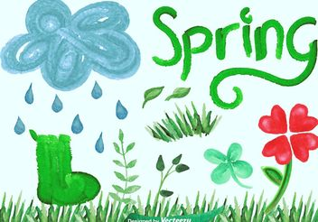 Watercolor Vector Spring Graphics - бесплатный vector #145847