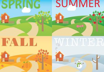Seasonal Rolling Hills Vectors - бесплатный vector #145857