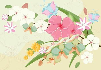Beautiful Polynesian Flowers Vector - vector gratuit #146527