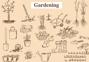Hand Drawn Garden Tool Vectors - Free vector #146547