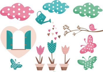 Cute Garden Vector Elements - Free vector #146627