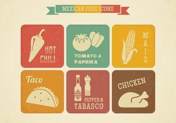 Free Retro Mexican Food Vector Icons - Free vector #146777