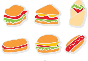 Flat Icons Fast Food Vector - Free vector #146807