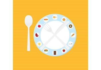 Dish And Food Dinner Table Setting Vector - vector gratuit(e) #146857