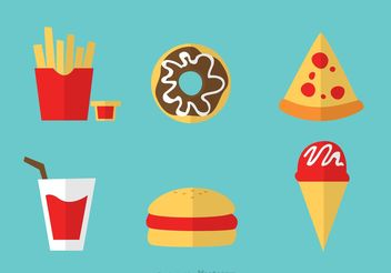 Set Of Food Icons Vectors - Free vector #146887