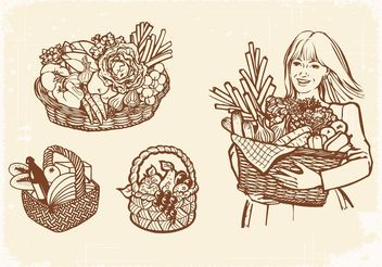 Free Vector Drawn Old Baskets With Food - Free vector #147007