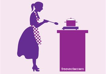 Cooking Woman Vector - vector gratuit #147027