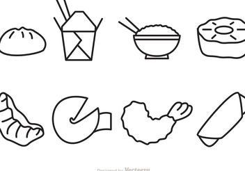 Outline Chinese Food Vector Icons - Free vector #147107