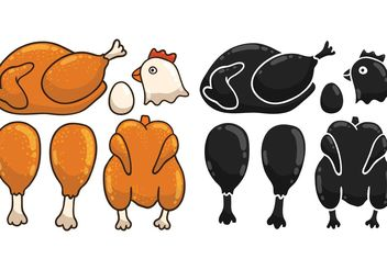 Free Cartoon Chicken Vectors - vector gratuit #147227