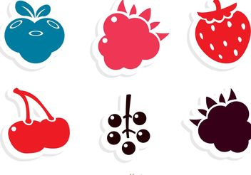 Simple Berry Fruits Icons Vector - Free vector #147337