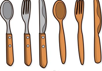 Wooden Utensil Vectors Pack - бесплатный vector #147957