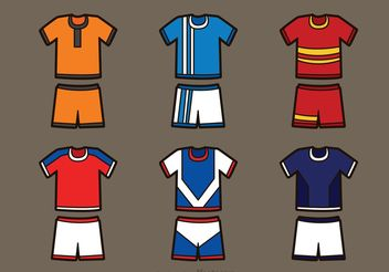 Set Of Soccer Sports Jersey Vectors - Free vector #148097