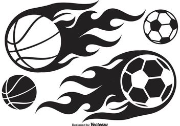Basketball and Soccer Ball on Fire - Free vector #148107