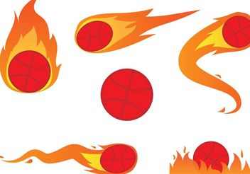 Basketball On Fire Vectors - Free vector #148217