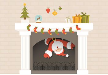Free Santa Descends From Christmas Fireplace Vector - Free vector #149347