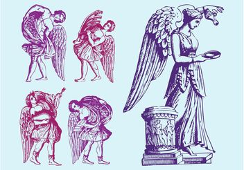 Antique Angels Statues - vector gratuit #149527