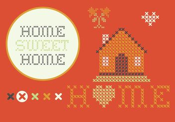 Cross Stitch Home Sweet Home Set - Free vector #149567