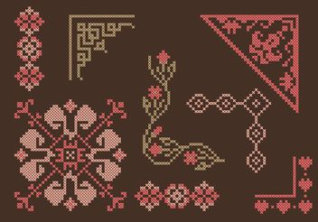 Cross Stitch Border Set - Free vector #149637