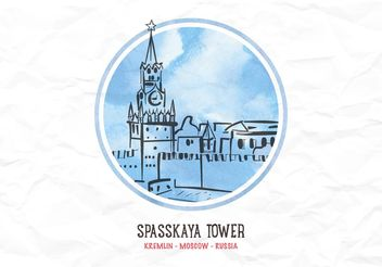Free Vector Watercolor Kremlin Tower - Free vector #149657