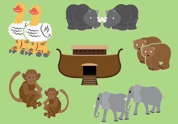 Ark Vector With Animals By Two - Free vector #149687