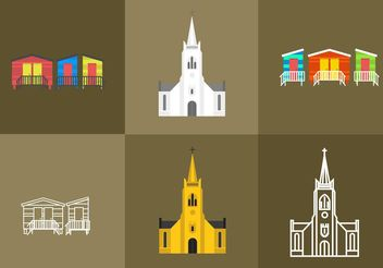 Cape Town Churches and Beach House Vectors - vector gratuit(e) #149887