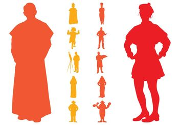 Retro People Silhouettes Pack - Free vector #150117